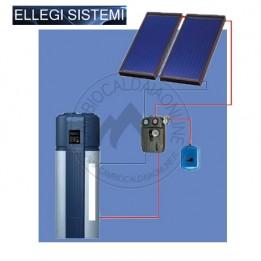 Cambiocaldaiaonline.it ELLEGI Kit solare circolazione forzata per pompa di calore ACS da 300lt (2 pannello piano + tubazioni solari 15 m) Cod: ELGKITSOLPDC-20