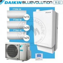 Cambiocaldaiaonline.it DAIKIN Hybrid + Multi 5MXM90N + HPU Hybrid 8KW + 1CTXM15 + 2FTXM20 + 1FTXM25 (U.est. 2.75kW elett + U.int 10.02kW term + 33kW risc+acs) Cod: SB.HBH08/EVLQ/33A2 + 5MXM90N +1+2+1-20