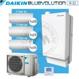 Cambiocaldaiaonline.it DAIKIN Hybrid + Multi 5MXM90N + HPU Hybrid 8KW + 1FTXM20 + 1FTXM25 + 1FTXM35 (U.est. 2.75kW elett + U.int 10.02kW term + 33kW risc+acs) Cod: SB.HBH08/EVLQ/33A2 + 5MXM90N +1+1+1-20