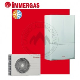Cambiocaldaiaonline.it IMMERGAS Kit ibrido completo MAGIS COMBO 5 / 8 / 10 (u.est da 1.28 a 2.40 kW elett + u.int da 5.8 a 9.70 kW term + 24 kW riscald.to + 28 kW sanitaria istantanea) CALDO and FREDDO Cod: 3.02723-20