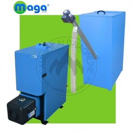 Cambiocaldaiaonline.it MAGA Termo-stufa in acciaio a Pellet modulante SERIE P 20 / 40 (automatica + coclea carico + silos pellet 450lt / 300kg) Cod: P-20