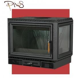 PIROS Inserto a Legna CALORBOX PICCOLO ANGOLO SX ventilazione forzata (9.5kW risc. + 210 mc riscaldabile + Fumi Ø 200 mm)  Misure L640 x P490 x HVetro 467 mm
