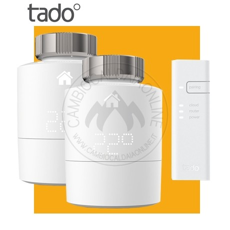 Cambiocaldaiaonline.it TADO GmbH TADO° Heating Testina Termostatica Intelligente Kit base (2 testine complete di Bridge geo localizzatore WiFi) Cod: 4260328610770-324