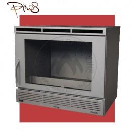 Cambiocaldaiaonline.it PIROS Inserto a Legna ECOBOX SLIM PICCOLO ventilazione forzata c/regolatore (9.5kW risc. + 210 mc riscaldabile + Fumi Ø 200 mm) Misure L640 x P541 x HVetro 374 mm Cod: CA-26-20-20-20