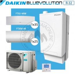 Cambiocaldaiaonline.it DAIKIN Hybrid + Multi 3MXM68N + HPU Hybrid 5KW + 1FTXM25 + 1FTXJ35 (U.est. 2.07kW elett + U.int 5.12kW term + 33kW risc+acs) Cod: SB.I-CHYHBH05/33A2 + 3MXM68N-20