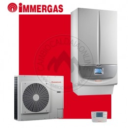 Cambiocaldaiaonline.it IMMERGAS Kit ibrido MAGIS VICTRIX ErP (23,6kW riscald.to + 26kW sanitario + 12,4 lt/min + 6 / 8 / 12 kW PDC) Cod: 3.025615+30278-20