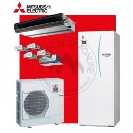 Cambiocaldaiaonline.it MITSUBISHI kit sistema Mr.SLIM+ filo comando + canalizzato x 4 zone (u.est 1.82 kW elett + u.int 8.00 kW term + acs 200lt + Tmax 55°/-20°) CALDO and FREDDO + APP Cod: EHST20C-VM2C+PUHZ-FRP71VHA+KITCANALIZZATO-20