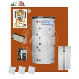 Cambiocaldaiaonline.it AURORA 3M kit 3 appartamenti riscaldamento BT + acqua calda sanitaria* 15kW elettrici con puffer bivalente + 3 satelliti utenza al piano Cod: Aurora.BT3_H20-20