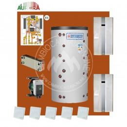 Cambiocaldaiaonline.it AURORA 3M kit per 5 appartamenti riscaldamento HT + acqua calda sanitaria* 30kW elettrici con puffer bivalente + 5 satelliti utenza al piano Cod: Aurora.HT5_H20,-20